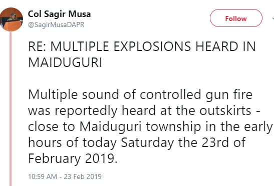 There is no report of attack on Maiduguri, the heavy explosions and sporadic gunfire in this morning are mere drills - Nigerian Army