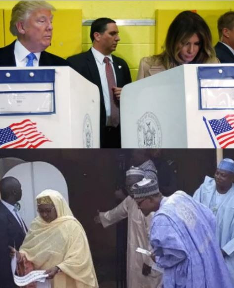 #NigeriaDecides: Side by side election photo of President Buhari and Aisha VS President Trump and Melania