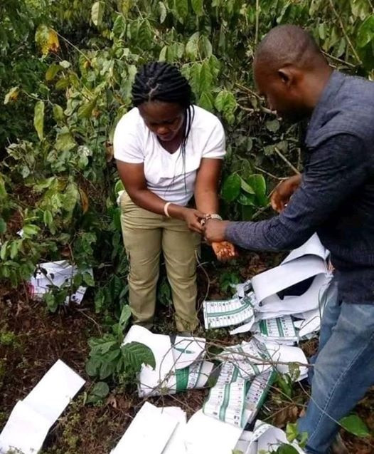 Photos: Female Corps member allegedly caught in the bush destroying ballot papers in Imo