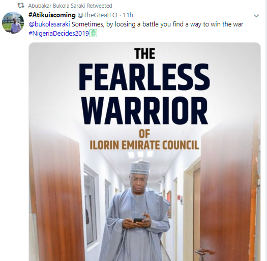 Saraki retweets motivational messages sent to him by Nigerians after losing Senate seat