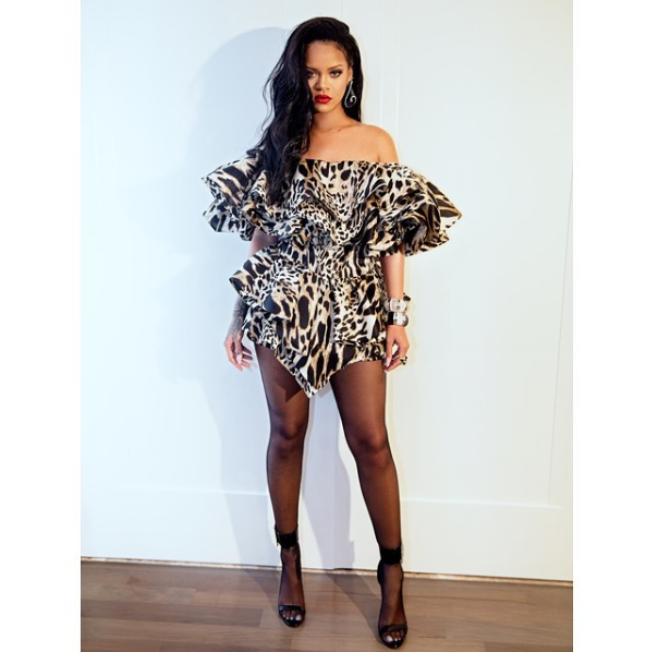 Rihanna rocks sexy leopard Ruffle mini dress to Beyonc? and Jay-Z?s Oscars after-party (Photos)