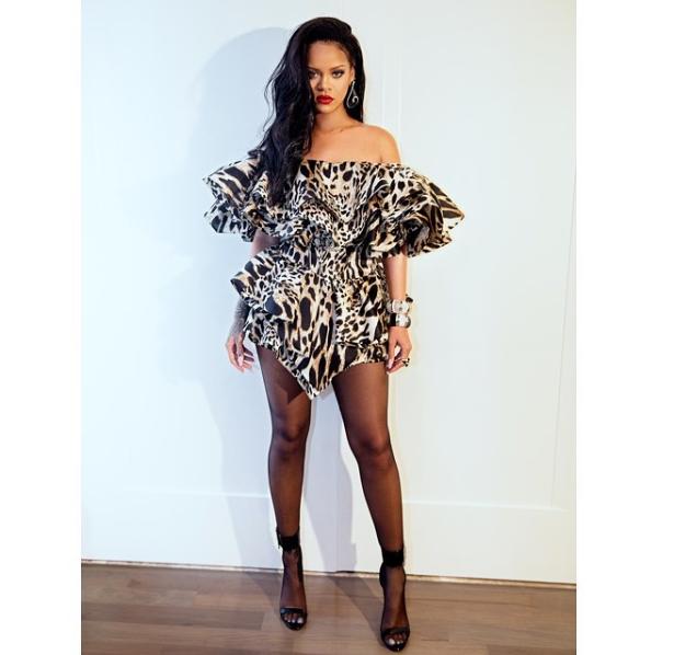 Rihanna rocks sexy leopard Ruffle mini dress to Beyonc? and Jay-Z?s Oscars after-party (Photos)