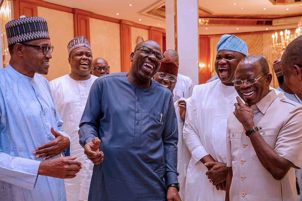 Happy photo of President Buhari, Governor Ambode, Governor Obaseki and Adams Oshiomhole celebrating APC
