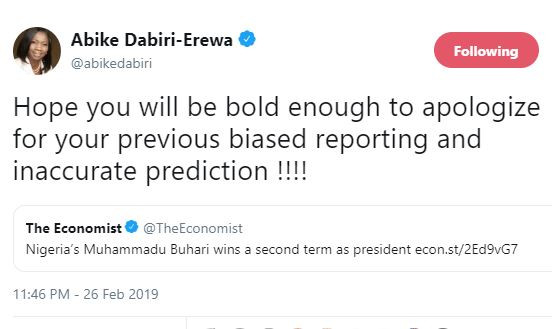 Abike Dabiri demands an apology from?