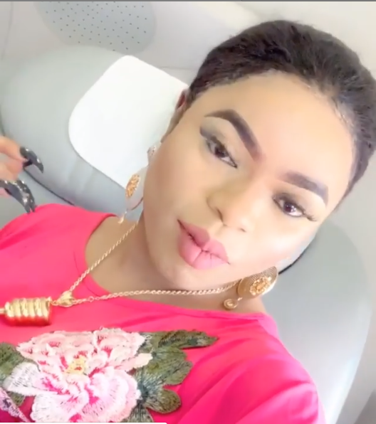 Bobrisky travels in style as he flies first class from Dubai (Photos)