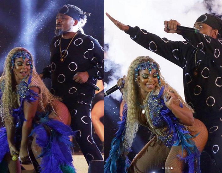 Steamy photos of Ashanti and?Trinidadian singer Machel Montano on stage