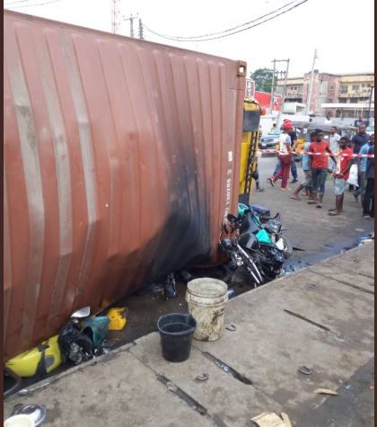 Photos from the scene on an accident where a tanker fell around Ikeja under bridge today