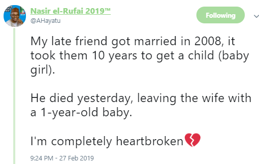 Twitter stories: After waiting 10 years to have a child, Nigerian man dies one year after he welcomed his daughter