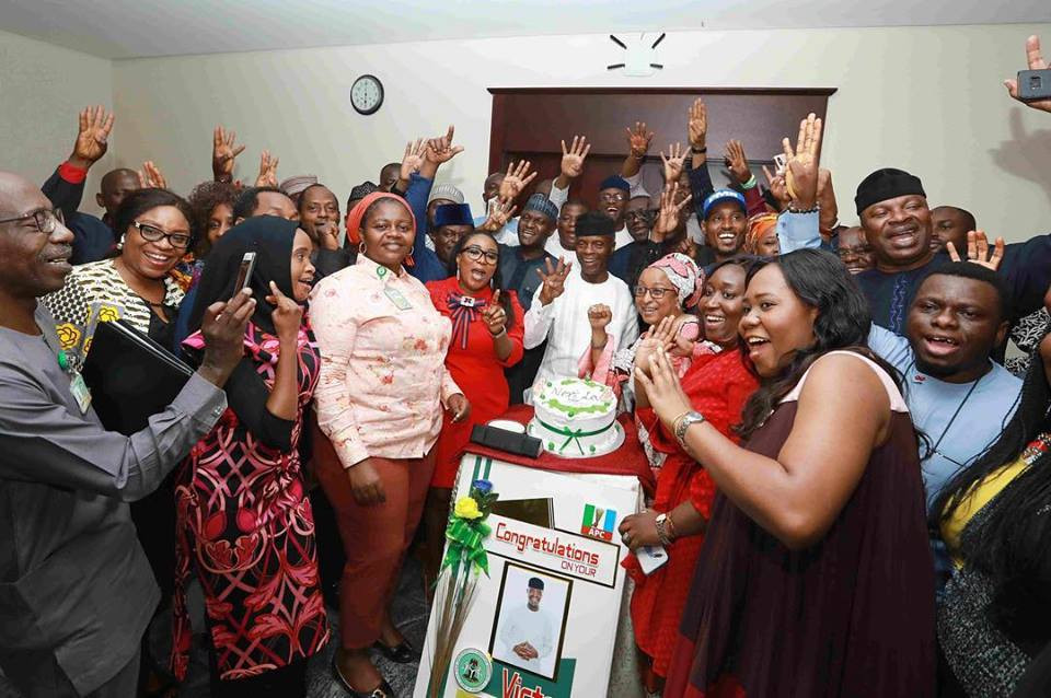 Photos: VP Yemi Osinbajo celebrates his election victory with his staff