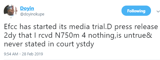Doyin Okupe denies receiving N702m windfall from Sambo Dasuki, accuses EFCC of media trial