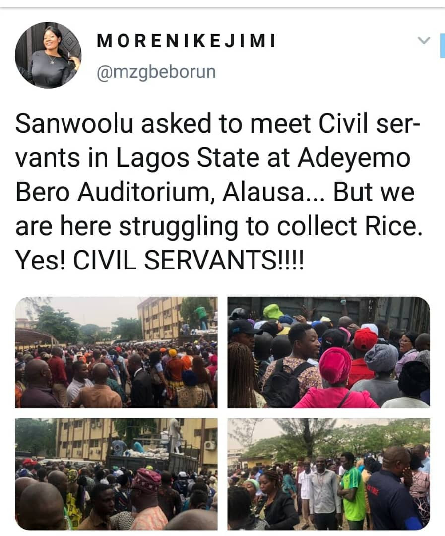 Lagos state civil servants scamper for bags of rice reportedly given to them by APC governorship candidate (photos/video)