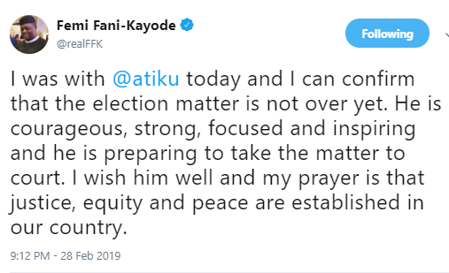 2019 election: FFK says Atiku is very determined to go to court