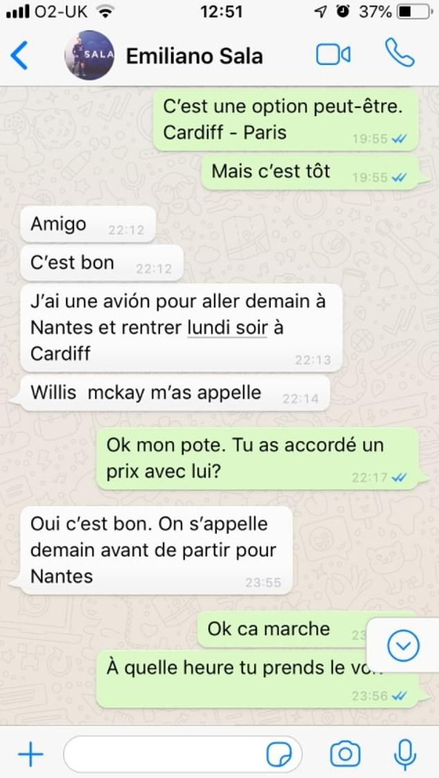 Leaked WhatsApp messages show Cardiff offered Emiliano Sala a commercial flight but he rejected the offer (Screenshots)