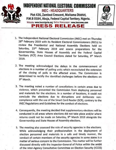 Breaking: INEC to hold supplementary presidential elections March 9