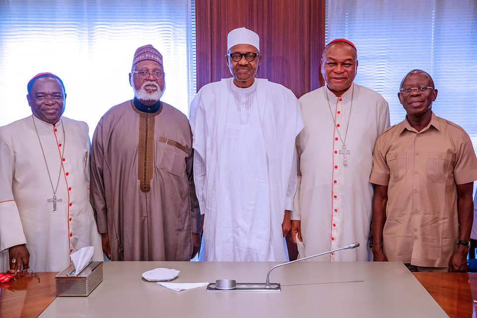 After meeting with Atiku last night,?National Peace Committee visits President Buhari in Aso Rock
