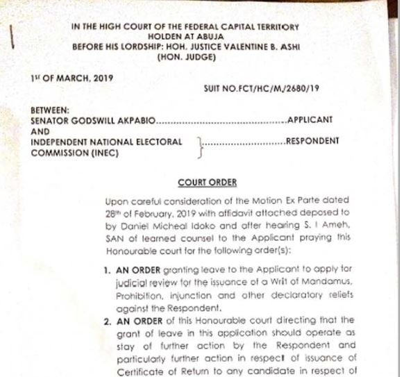 Court stops INEC from issuing certificate of return to Goodswill Akpabio?s opponent