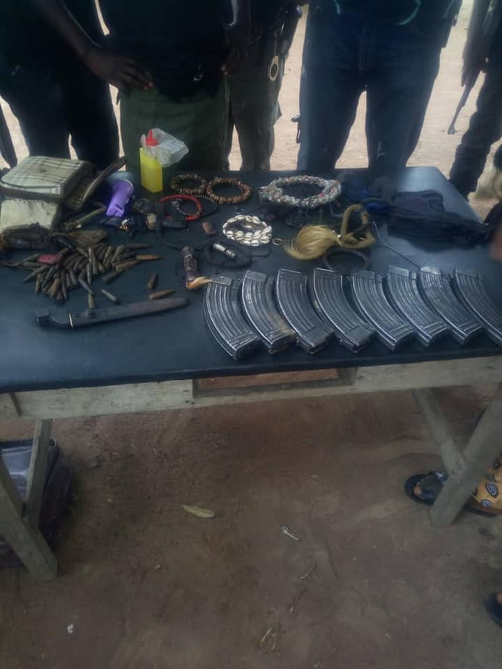 Photos: Charms, ammunition recovered from kidnappers in Benue