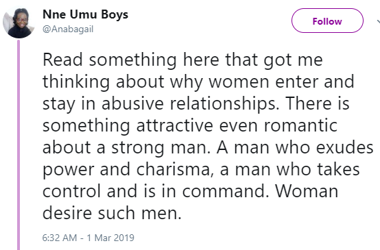 Women would rather stay with an abusive man than with a wimp- Nigerian writer says
