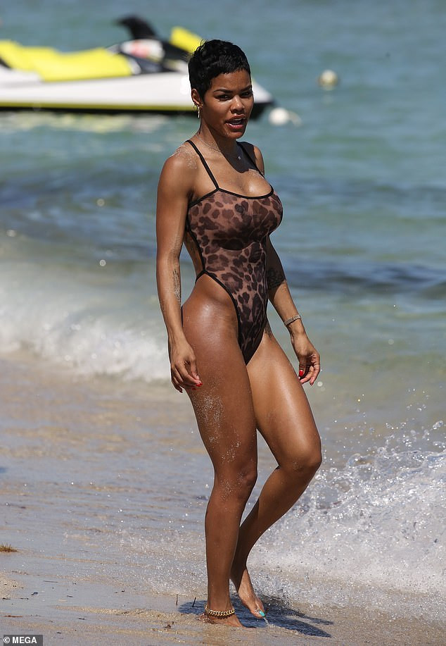 More photos of Teyana Taylor flaunting her figure in sheer leopard print thong swimsuit in Miami