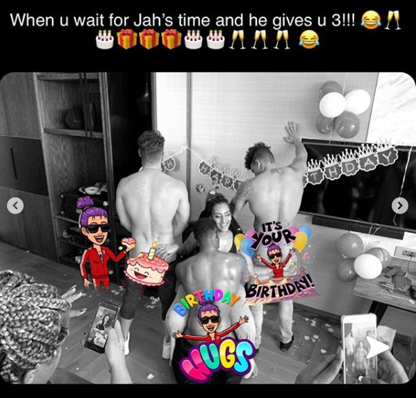 Actress, Juliet Ibrahim shares raunchy photo of 3 nearly naked men giving her lap dance on her 33rd birthday in SA