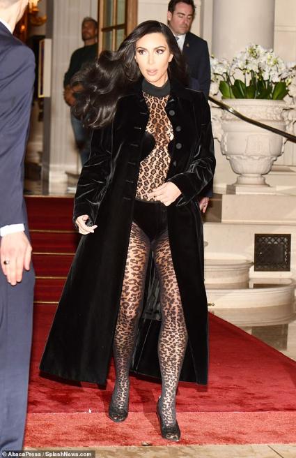 Kim Kardashian pictured  in sheer unitard for an evening stroll in Paris (photos)