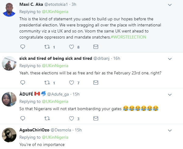 Nigerians slam UK High commission for asking for a credible election this Saturday March 9th