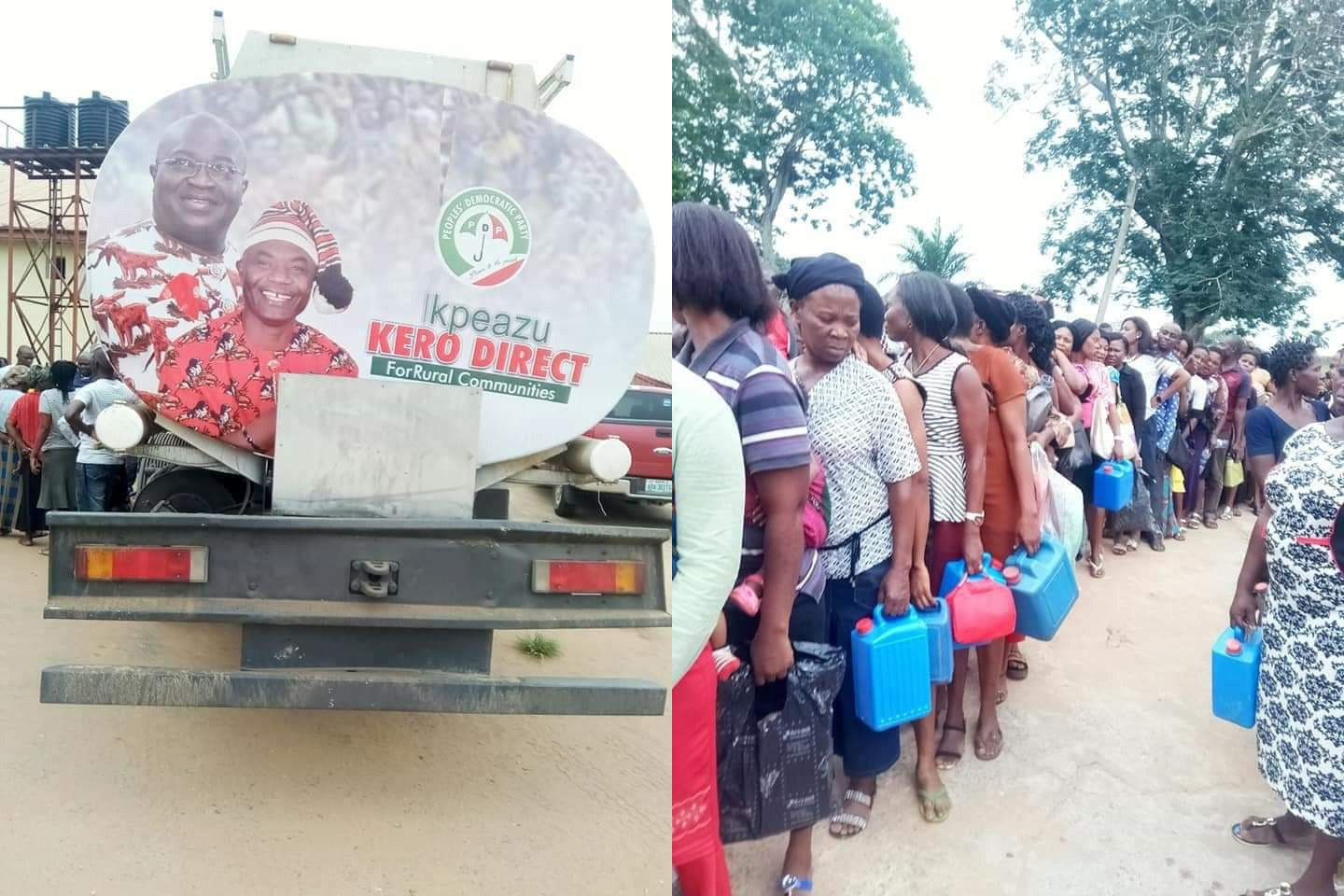 Photos: Abia residents file out to collect Kerosine from governorship candidate
