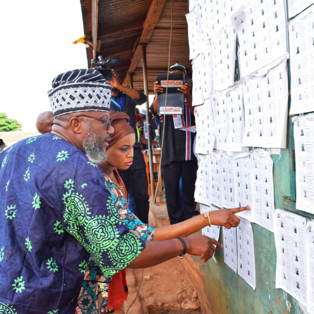 Photos: Ex-beauty queen, Chinenye Ochuba and her governorship aspirant hubby Adekunle Akinlade cast their votes