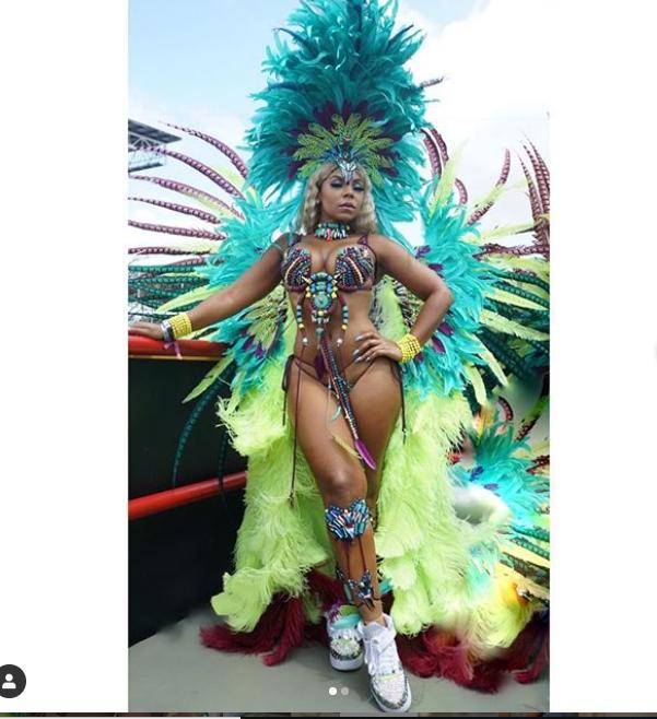 Ashanti flaunts her hot body in revealing beaded bikini during Trinidad and Tobago Carnival? (Photos)