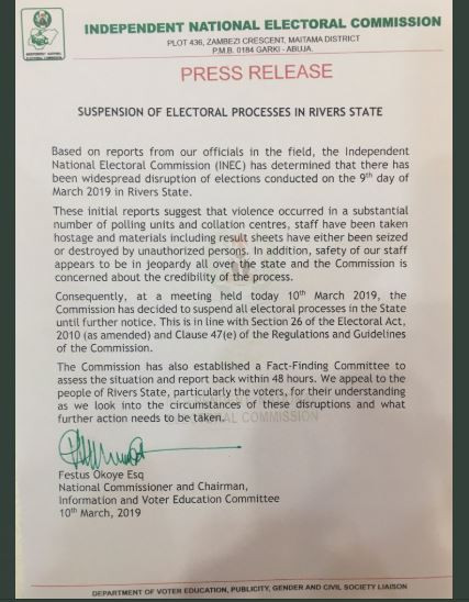 INEC suspends all elections In Rivers State