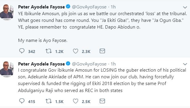 Savage! Ayo Fayose mocks Governor Amosun over Dapo Abiodun