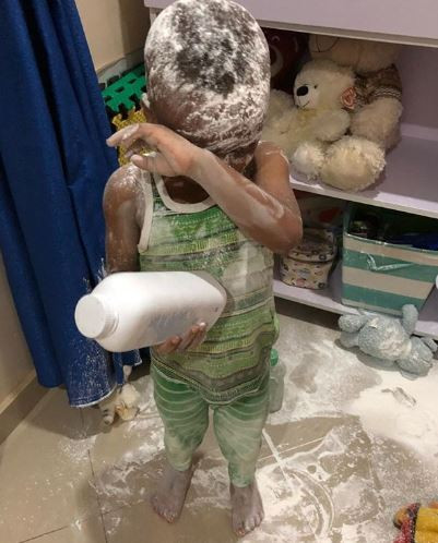 Tonto Dikeh shares photos of her son smearing baby powder all over the house