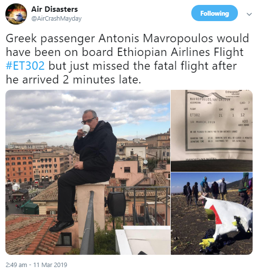 Greek passenger narrates how he escaped death in the Ethiopian Airlines crash
