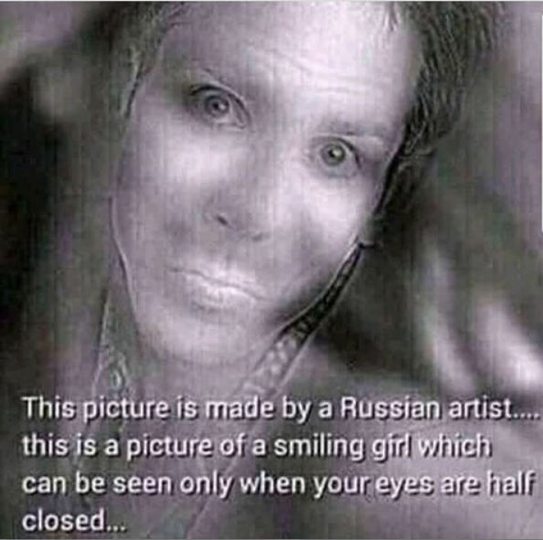 See viral picture made by Russian artist who drew girl smiling but you can only see it when your eyes are half closed