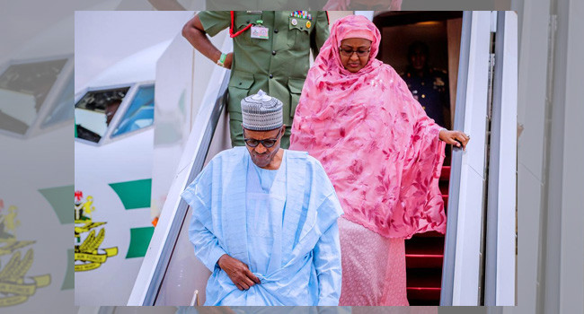 Photos: President Buhari arrives in Abuja from Daura