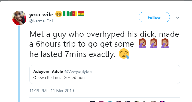 Lady who made a 6-hour trip for sex with a man who overhyped his d**k reveals her disappointment after they met