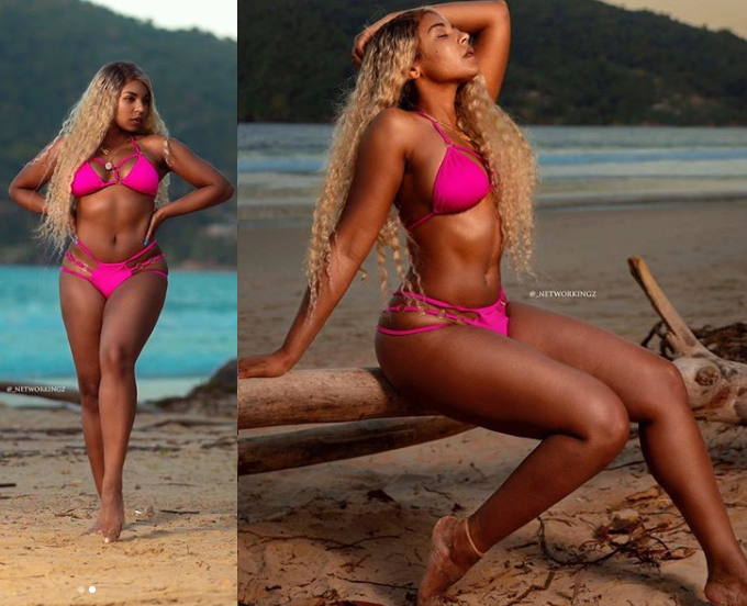 Ashanti flaunts her banging bikini body as she poses at Maracas beach (Photos)