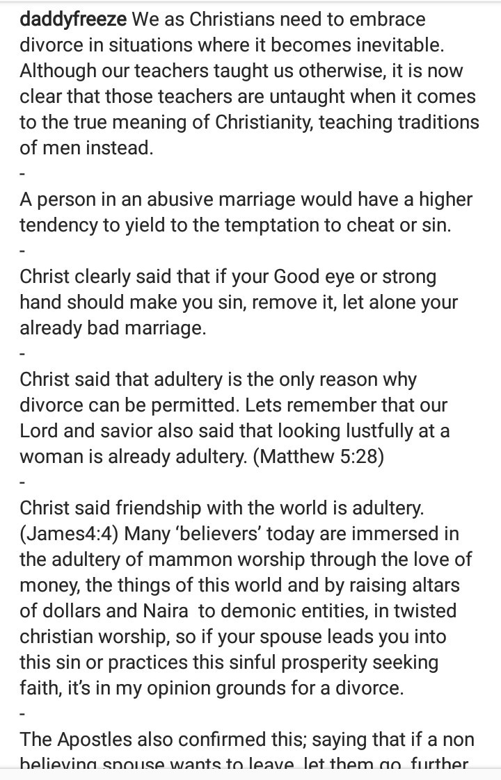 """We as Christians need to embrace divorce"" - Daddy Freeze says"