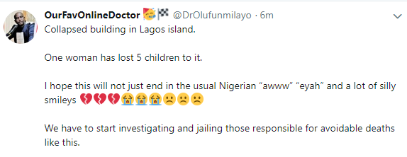 Sad! Woman reportedly loses 5 children in Lagos school building collapse