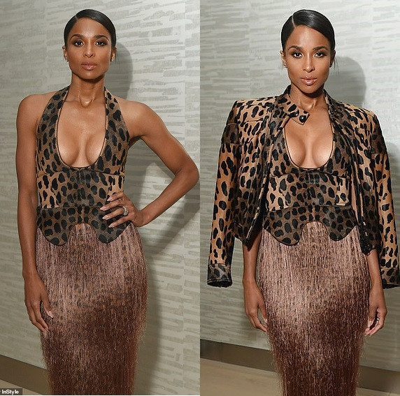 Ciara flaunts her cleavage in plunging animal print ensemble as she attends InStyle Dinner with her husband �Russell Wilson (Photos)