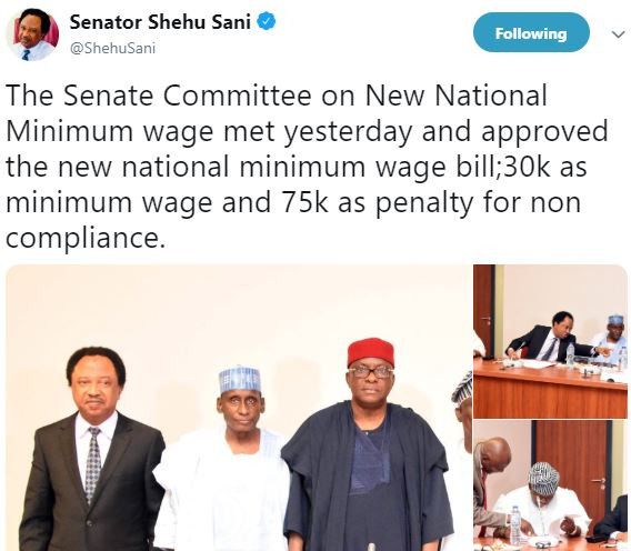 Senate Committee?approves?30k as new minimum wage and 75k as penalty for non compliance - Shehu Sani