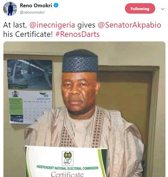 Reno Omokri mocks Senator Goddswill Akpabio with a