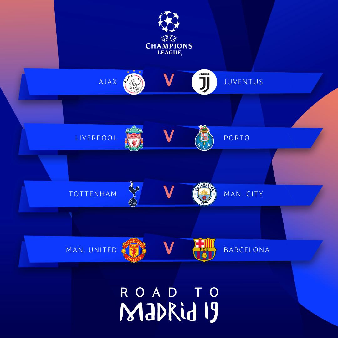 Champions League quarter-final draw revealed: Man.U vs Barca, Ajax vs Juventus, Tottenham vs Man. City & Liverpool vs Porto