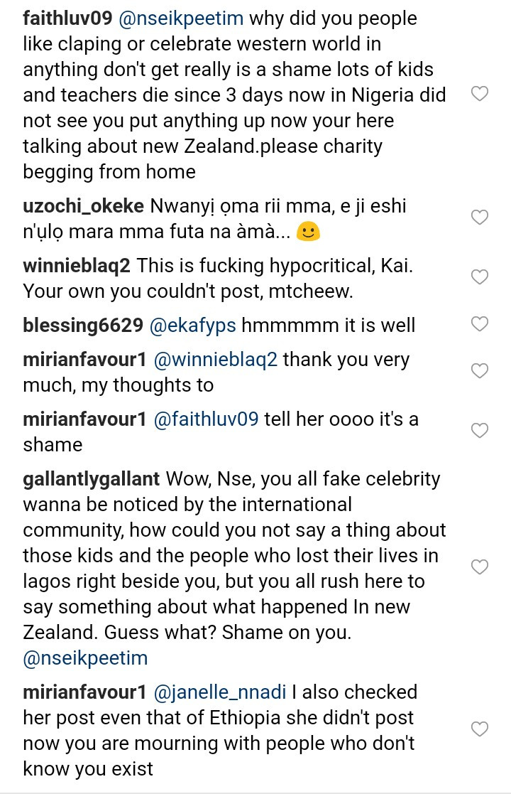 Nigerians call out Nse Ikpe Etim for sympathising with New Zealand following mass shootings yet saying nothing about the Lagos school building collapse