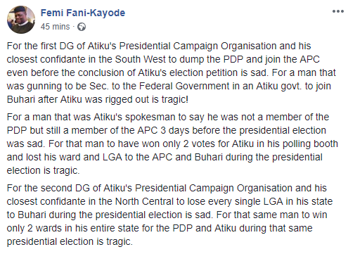 Gbenga Daniel?s decision to join APC after Atiku was rigged out is sad and tragic ? FFK