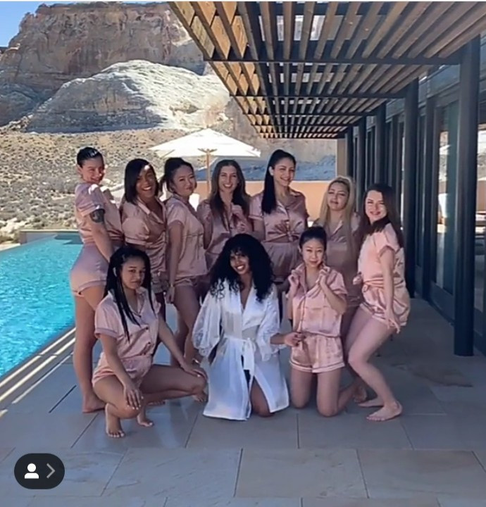 Sabrina Dhowre enjoys her hen night with friends as she prepares for her wedding to Idris Elba