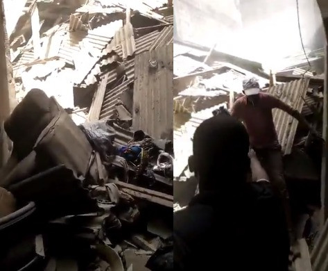 Video: Another building collapses in Lagos, many trapped!