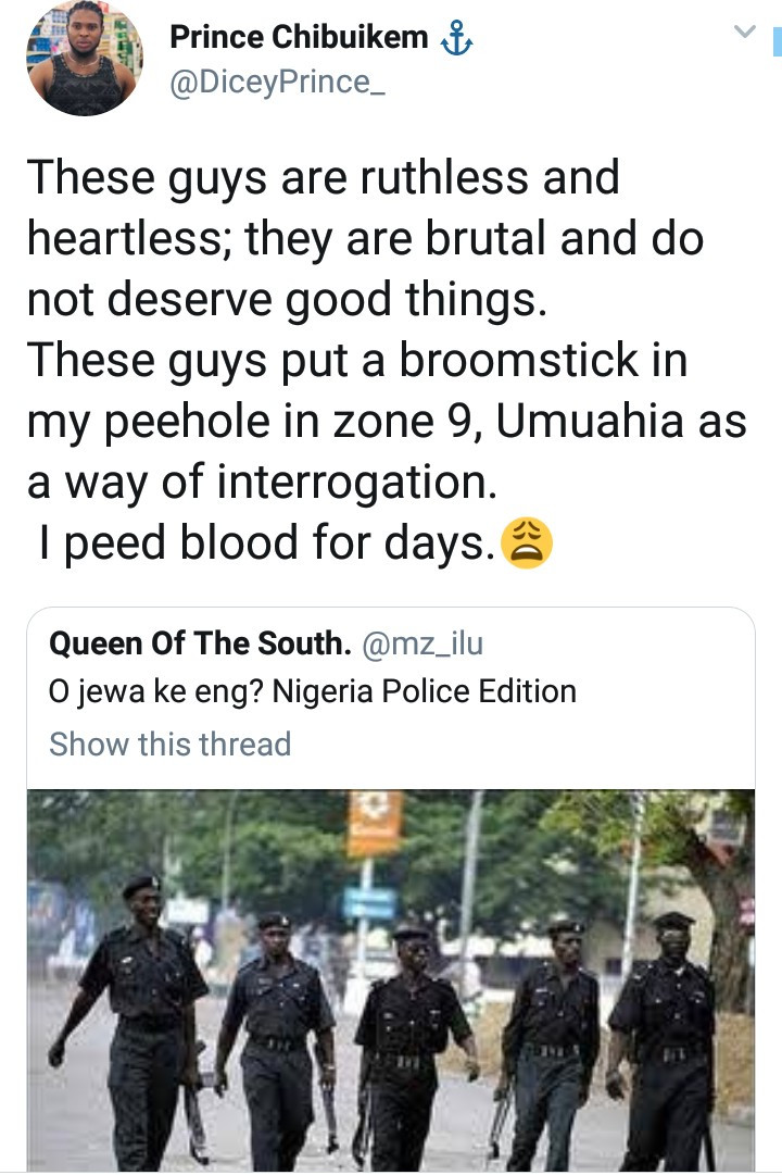 Man accuses Nigerian police of putting broom stick into his pee hole causing him to bleed for days