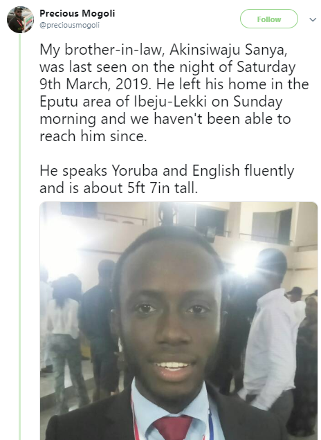 Young man declared missing in Lagos