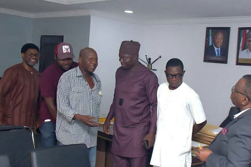 Photos: Baba Suwe meets Minister of Health, Prof Isaac Adewole